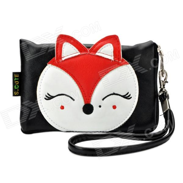 Cute Cartoon Fox Style PU Leather Zipper Wallet Coin Purse Cell Phone Storage Pouch Bag - Black