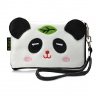 Cute Cartoon Panda Style PU Leather Zipper Wallet Purse Cell Phone Storage Pouch - White + Black