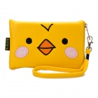 Cute Cartoon Chicken Style PU Leather Zipper Wallet Coin Purse Cell Phone Storage Pouch Bag - Yellow