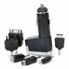 USB Car Charger with USB Data Cable + Charging Adapters for iPhone / Samsung / Nokia - Black
