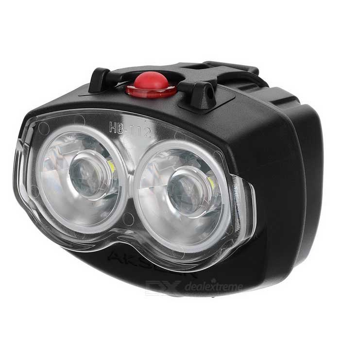 AKSLEN HB-122 Water Resistant LED Bike Bicycle Headlight - Black (2 x AA)