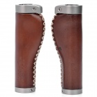 Alpha-one OG-001 Artificial Leather Bike Bicycle Grip - Brown (Pair)