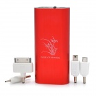 4400mAh External Battery Power Charger with White 3-Mode LED Flashlight / Money Detector - Red