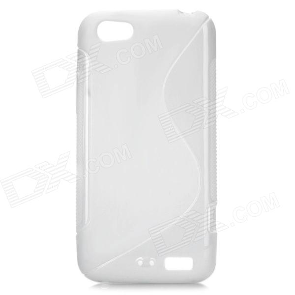 S Pattern Protective TPU Case for HTC One V - White