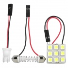 Festoon 31~42MM 1W 90~125LM 9x5050 SMD White LED Car Reading / Dome Lamp