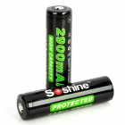 SOSHINE 18650 2900mAh Rechargeable Battery - Black + Green (2-Piece Pack)