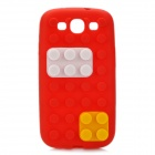 Stylish Blocks Style Protective Silicone Back Case for Samsung Galaxy S3 i9300 - Red