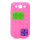 Stylish Blocks Style Protective Silicone Back Case for Samsung Galaxy S3 i9300 - Deep Pink