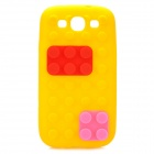 Stylish Blocks Style Protective Silicone Back Case for Samsung Galaxy S3 i9300 - Yellow