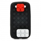 Stylish Blocks Style Protective Silicone Back Case for Samsung Galaxy S3 i9300 - Black