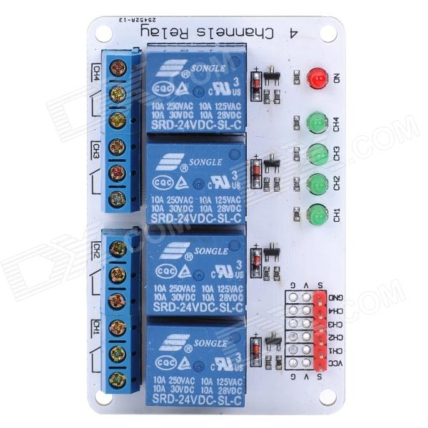 4 Channel 24V Relay Module Extension Board for Arduino 1 channel relay module interface board shield for arduino 5v low level trigger one pic avr dsp arm mcu dc ac 220v