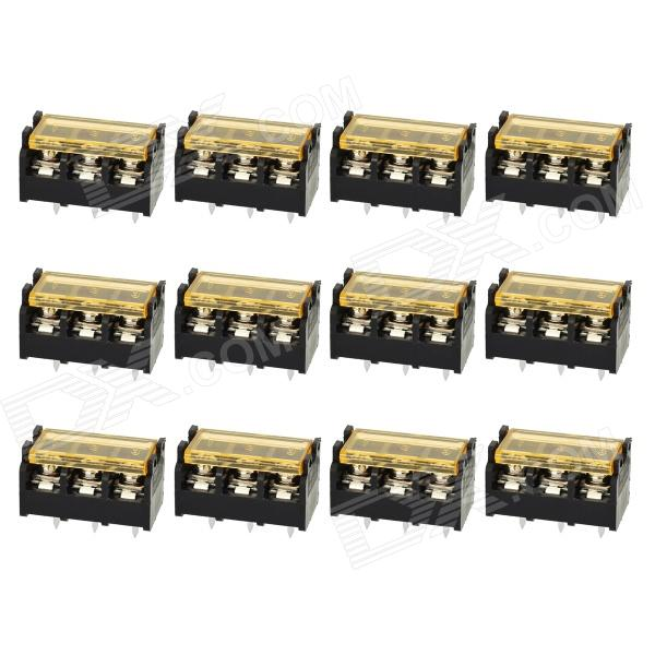 300V 10A 3-Pin Screw Terminal Block Connector with Cover (12-Piece Pack)