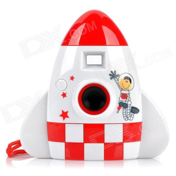 """Cute Rocket Style 1.1"""" LCD 300KP Digital Camera for Kids - Red + White (2 x AAA)"""