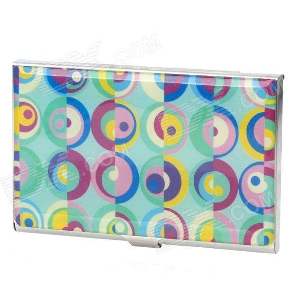 Colorful Ring Pattern Stainless Steel Business Card Case Holder