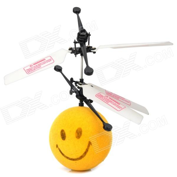 Infrared R/C Control Flying Smiling Plush Ball Toy - Yellow