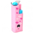 Lovely Lip Print Pattern 2-Blade Water Spray Cooling Fan - Pink (1 x AA)