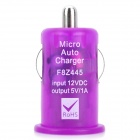 Mini USB 2.0 Car Cigarette Lighter Power Adapter for Digital Devices - Purple (12V)