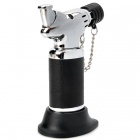 Seat Style Windproof Butane Jet Torch Lighter - Black + Silver