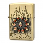 Cool Skull Style Fuel Lighter - Copper