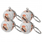 Football w/ Real Madrid Logo Style Keychains - White (4-Piece Pack)