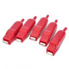 Car 20A Battery Terminal Alligator Crocodile Clamp Clip - Red (5-Piece Pack)