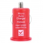 Mini USB 2.0 Car Cigarette Lighter Power Adapter for Digital Devices - Red (12V)
