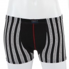 Men's Soft Cotton Boxer Brief Underwear - Black + Grey (Size-M)