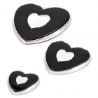 Slim Heart Shaped Plastic Door Guard Protector for Auto Car - Black (3-Piece Pack)
