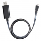 Micro USB Charging Cable w/ Blue Visible Light for HTC / Samsung / Blackberry - Black (80cm)