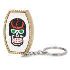 Fashion Skull Pattern Butane Gas Lighter with Keychain - Golden + White