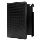 Star Pattern Protective 360 Degree Rotation Holder PU Leather Case for the New iPad / iPad 2 - Black
