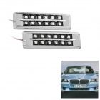 1.5W 12-LED 50~100LM Blue Light Waterproof Car Indicator Lamp - Silver (1-Set  / 12V)