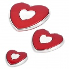 Slim Heart Shaped Plastic Door Guard Protector for Auto Car - Red (3-Piece Pack)