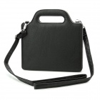 Fashion 360 Degree Rotation PU Leather Bag Case w/ Handhold Strap for the New iPad / iPad 2 - Black