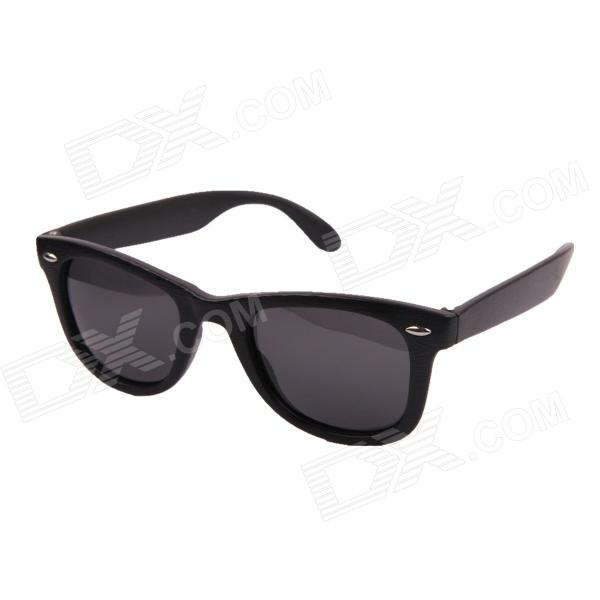 Oreka Retro Wood Grain polarizada TAC Resin Lens Proteção UV400 Sunglasses - Black