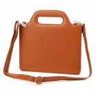 Fashion 360 Degree Rotation PU Leather Bag Case w/ Handhold Strap for the New Ipad / Ipad 2 - Brown