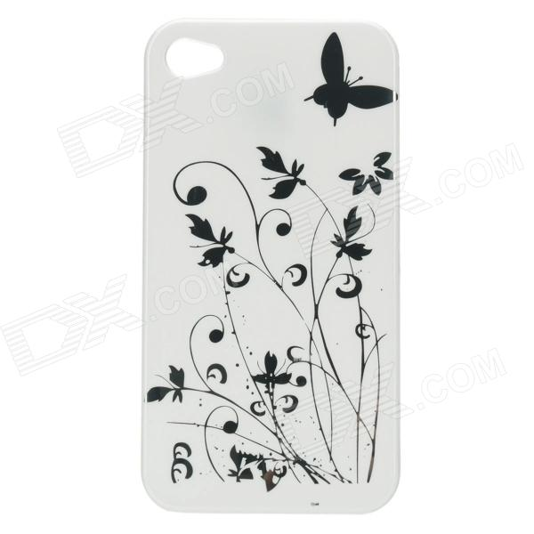 Iris Pattern Protective Plastic Back Case for Iphone 4 / 4S - White iris pattern protective plastic back case for iphone 3g white
