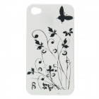 Iris Pattern Protective Plastic Back Case for iPhone 4 / 4S - White + Silver