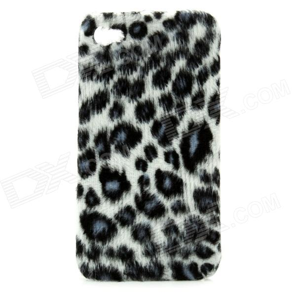 Plush Leopard Skin Pattern Protective Plastic Case for Iphone 4 / 4S - Blue + More purple fashionable leopard leather skin hard cover for iphone 5c