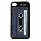 Classic Cassette Style Protective PC Back Case for Iphone 4 / 4S - Black + White
