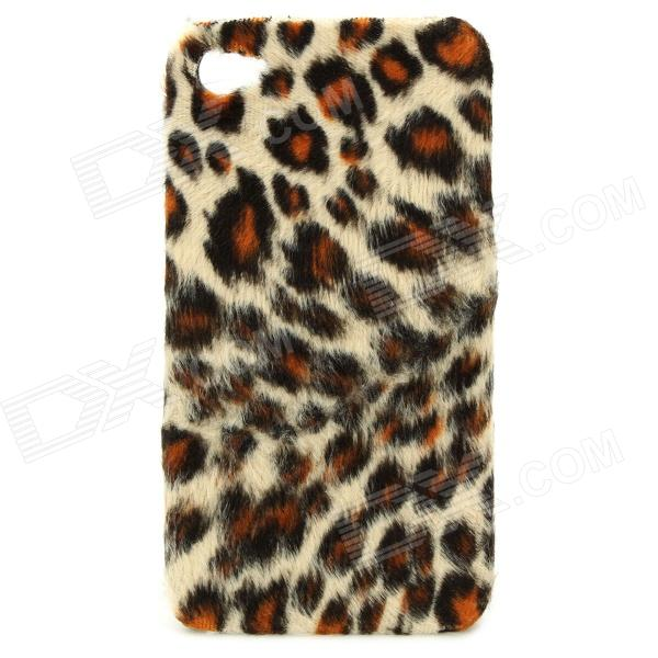 Plush Leopard Skin Pattern Protective Plastic Back Case for Iphone 4 / 4S - Yellow protective leopard plastic back case for iphone 4 4s pink