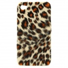 Plush Leopard Skin Pattern Protective Plastic Back Case for iPhone 4 / 4S - Yellow