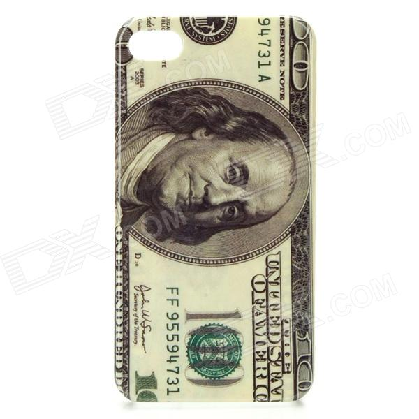 100 Dollars Pattern Protective PC Back Case for Iphone 4 / 4S - Grey stylish protective pc back case for iphone 4 4s london big ben pattern