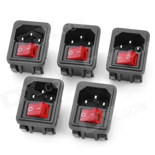 AC 250V 10A platt Plug Power Socket inlopp med 4-polig Rocker Switch (5-delars Pack)