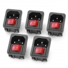 AC 250V 10A Flat Plug Power Socket Inlet with 4-Pin Rocker Switch (5-Piece Pack)