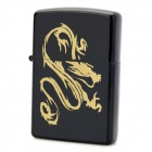 Stylish Dragon Pattern Fluid Fuel Lighter - Black