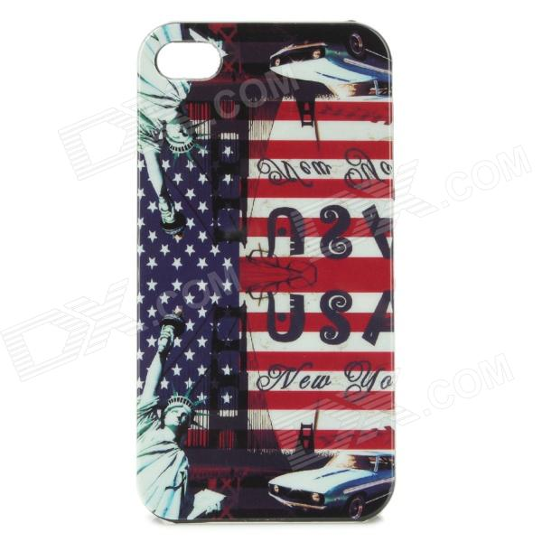U.S. Flag + Status of Liberty Style Protective Back Case for Iphone 4 / 4S - Blue + Red statue of liberty pattern protective plastic case for iphone 4 4s blue white