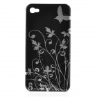 Iris Pattern Protective Plastic Back Case for Iphone 4 / 4S - Black + Silver
