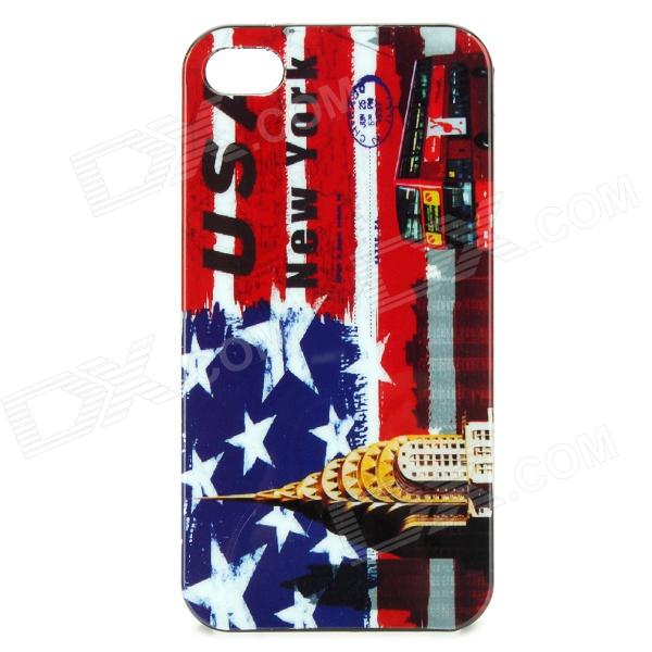 U.S Flag + Bus Pattern Protective Back Case for Iphone 4 / 4S - Red + More circle pattern protective pu leather case w strap for iphone 4 5 4s red