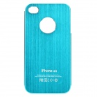 Fashion Protective Aluminum Alloy Back Case for iPhone 4 / 4S - Light Blue